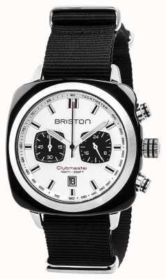 Briston Clubmaster sport ponadczasowy czarny pasek biała tarcza 17142.SA.BS.2.NB