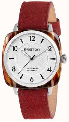 Briston Clubmaster szykowny czerwony pasek z białą tarczą 18536.SA.RE.2G.LNR