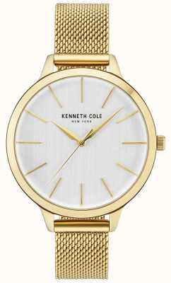 Kenneth Cole Damska, złota koperta, biała tarcza, bransoleta ze złotej siatki KC15056011