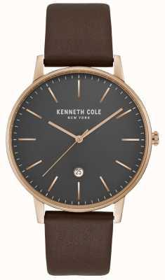 Kenneth Cole Męskie, różowe złoto, szara tarcza, brązowa skóra KC50009002