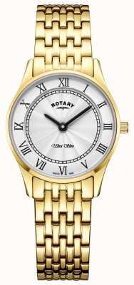 Rotary Damska ultra cienka bransoleta ze złotym tone biała tarcza LB08303/01
