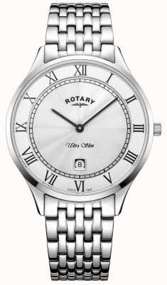 Rotary Męski ultra cienki biały zegarek ze stali nierdzewnej GB08300/01