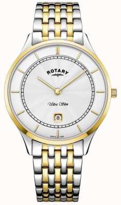 Rotary Męski ultra cienki biały dial złoty zegarek ze stali nierdzewnej GB08301/02