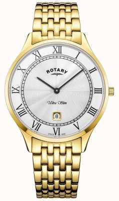 Rotary Męski ultra cienki biały zegarek ze stali nierdzewnej ze stali nierdzewnej GB08303/01