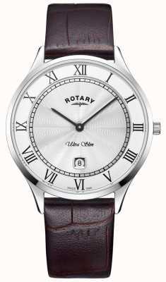 Rotary Męski ultra cienki brązowy skórzany pasek zegarka GS08300/01