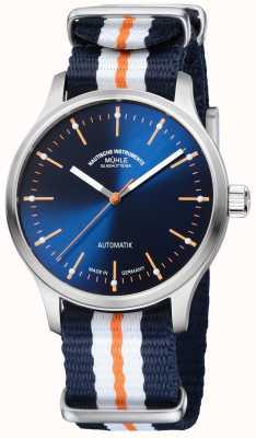 Muhle Glashutte Panova bleu limted edition syntetyczny niebieski pomarańczowy pasek M1-40-72-NB