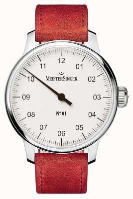 MeisterSinger Nr 1 40mm i zroszony czerwony zamsz sellita DM301