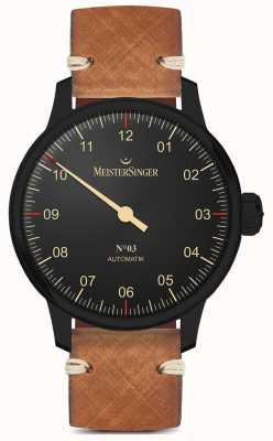 MeisterSinger Pasek z jednej ręki, czarna, jasnobrązowa, skórzana AM902BL