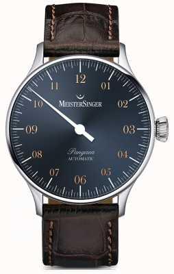 MeisterSinger Pangea automatyczna stalowo-niebieska tarcza w kolorze ciemnego brązu PM917G