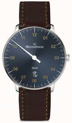 MeisterSinger Neo plus automatyczny, stalowy, niebieski, ciemnoczerwony pasek CONGAC NE417G