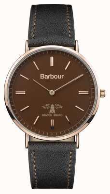 Barbour Męski skórzany pasek z czarnej skóry hartley BB055BRBK