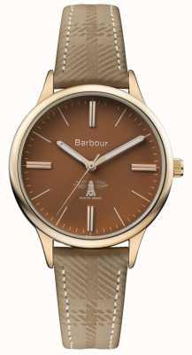 Barbour Męski pasek brązowy brązowy skórzany pasek z brązową tarczą BB058BRKH