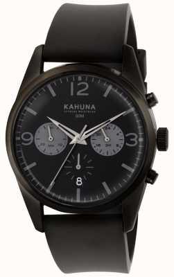 Kahuna Męski czarny pasek chronograf czarny gumowy pasek KCS-0010G