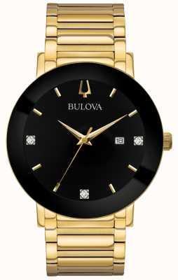 Bulova Męski nowoczesny zegarek ze złotej tonacji bransoleta czarna tarcza 97D116