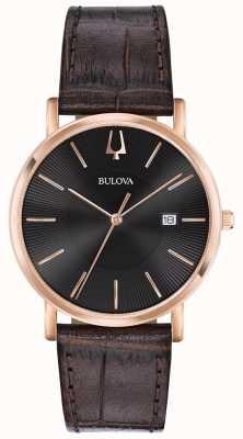 Bulova Męski zegarek na ramiączko brązowy skórzany pasek z czarną tarczą 97B165