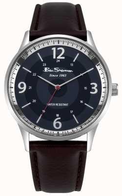 Ben Sherman Męski granatowy zegarek z brązowym skórzanym paskiem BS001UBR