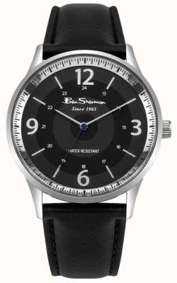 Ben Sherman Męski czarny pasek czarny skórzany pasek skryptu zegarka BS001BB