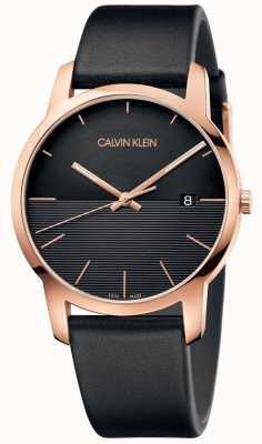 Calvin Klein Męski skórzany zegarek z różowego złota K2G2G6CZ