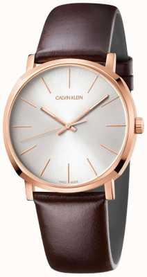 Calvin Klein Męski brązowy skórzany pasek z różowego złota K8Q316G6