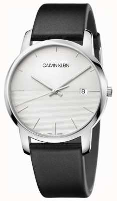 Calvin Klein Męski czarny skórzany pasek srebrnej tarczy K2G2G1CD