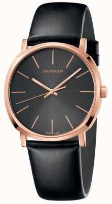 Calvin Klein Męski zegarek z czarnej skóry z różowym złotem K8Q316C3