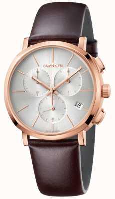 Calvin Klein Męski zegarek z białej skóry z brązowej skóry K8Q376G6