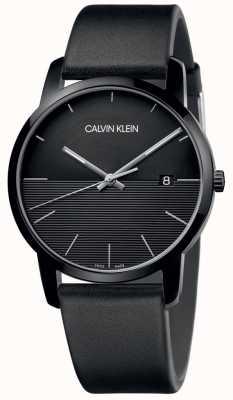Calvin Klein Męski czarny skórzany czarny zegarek K2G2G4C1