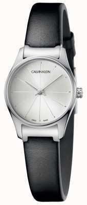 Calvin Klein Zegarek z czarnej skóry damskiej z srebrną tarczą K4D231C6