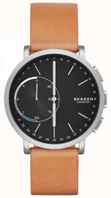 Skagen Hagen podłączony czarny pasek zegarka ze skórzaną opaską SKT1104