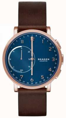 Skagen Hagen połączony z inteligentnym zegarem skórzanym paskiem z brązowej tarczy niebieskiej SKT1103