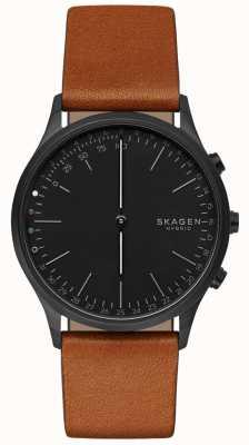 Skagen Jorn podłączony inteligentny zegarek brązowy skórzany pasek czarna tarcza SKT1202