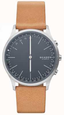 Skagen Jorn podłączony inteligentny zegarek brązowy skórzany pasek niebieska tarcza SKT1200