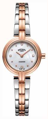 Rotary Diamenty damskie dwukolorowe, różowe złoto ze stali nierdzewnej LB00412/41