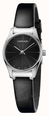 Calvin Klein Klasyczny czarny skórzany pasek z czarnej tarczki ze stali nierdzewnej K4D231CY