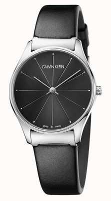 Calvin Klein Klasyczny czarny skórzany pasek damski K4D221CY