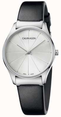 Calvin Klein Klasyczny czarny skórzany pasek srebrnej tarczy K4D221C6