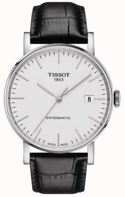 Tissot Męski automatyczny czarny skórzany pasek za każdym razem szwajcarski T1094071603100