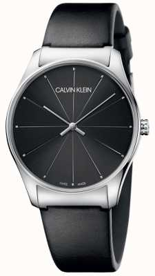 Calvin Klein Klasyczny czarny skórzany pasek z czarną tarczą K4D211CY