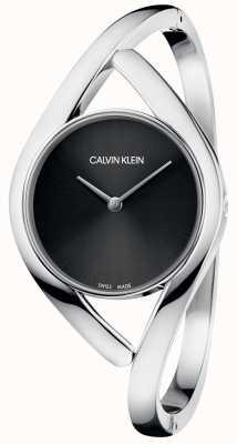 Calvin Klein Srebrna bransoleta ze stali szlachetnej czarna tarcza K8U2S111
