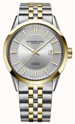 Raymond Weil Męska freelancer automatyczna bransoleta dwutonowa srebrna tarcza 2731-STP-65001