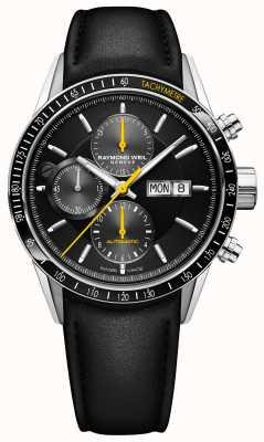 Raymond Weil Męski automatyczny chronograf z czarnym skórzanym paskiem Freelancer 7731-SC1-20121