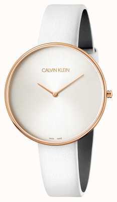 Calvin Klein Damski zegarek na rękę z białej skóry w pełni księżyca K8Y236L6