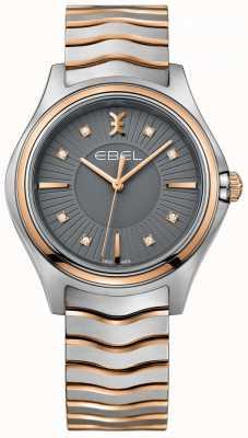 EBEL Damska bransoletka z diamentowej fali metalowo-szarej tarczy dwukolorowej 1216309