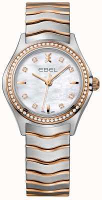 EBEL Damska bransoletka z masy perłowej z falą diamentową i dwukolorową tarczą 1216325
