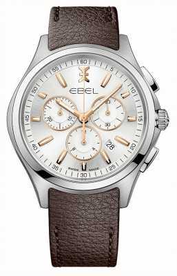 EBEL Męskie dane chronografu chroniące przed falami ukazują brązowy skórzany pasek 1216341