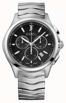 EBEL Męski chronograf w kolorze czarnym ze srebrną tarczą ze stali nierdzewnej 1216342