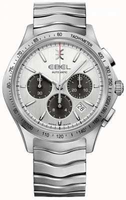 EBEL Męski automatyczny chronograf falowy tachymetr ze srebrnym pokrętłem 1216403