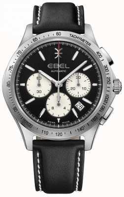 EBEL Męski automatyczny chronograf chroniący przed falami, czarny, czarna skóra 1216404