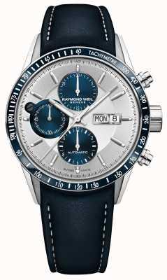 Raymond Weil Męski automatyczny chronograf z niebieskim skórzanym paskiem Freelancer 7731-SC3-65521