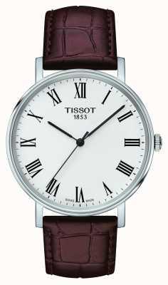 Tissot Męskie zawsze średni brązowy skórzany pasek biały wybierania T1094101603300